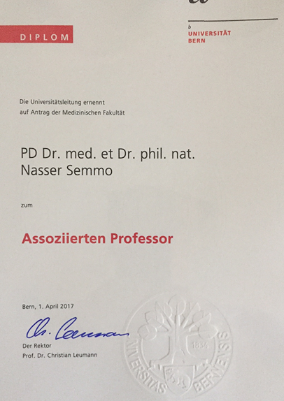 1. April 2017: Rectorate of the University of Bern nominates professor title