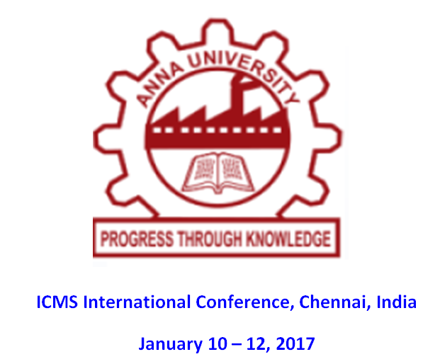 10.-12. January 2017: ICMD - Chennai, India
