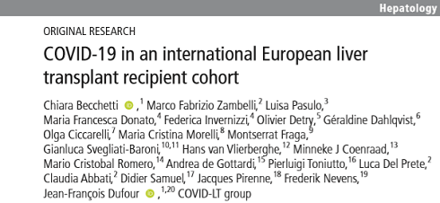 October 2020: First European Prospective Cohort of Liver Transplant Recipients affected by COVID-19